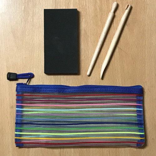 Paper Shaping Kit consisting of 2 wooden tools, a foam pad, and a tote bag