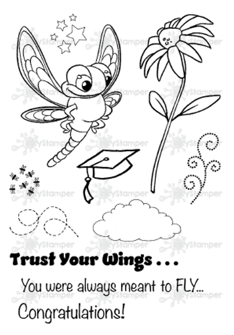 InkyStamper presents the Bug Jar Line.  This cute Dragonfly stamp set comes with accessories and sentiments