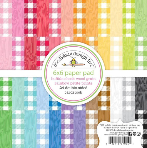Doodlebug Design - Monochromatic Collection - 6 x 6 Paper Pad - Petite Prints - Buffalo Check