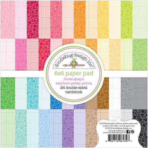 Doodlebug Design - Monochromatic Collection - 6 x 6 Paper Pad - Petite Prints - Floral Graph