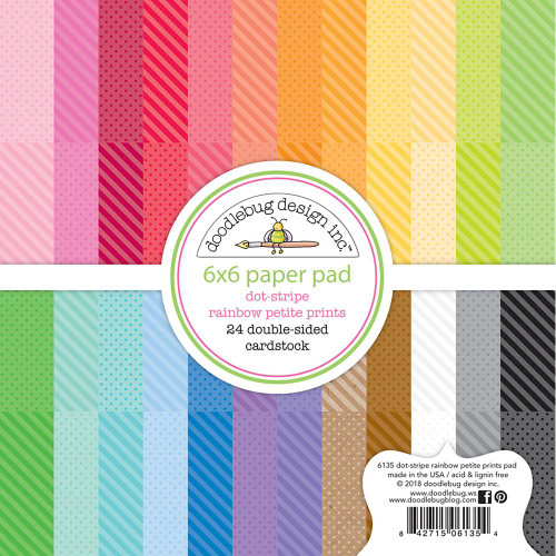 Doodlebug Design - Monochromatic Collection - 6 x 6 Paper Pad - Petite Prints - Dot Stripe