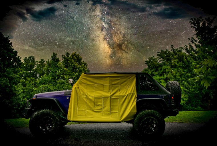 This product is made of 100% waterproof polyester ripstop material and designed to keep most of the interior of the vehicle dry in the event of a pop-up rain storm.
