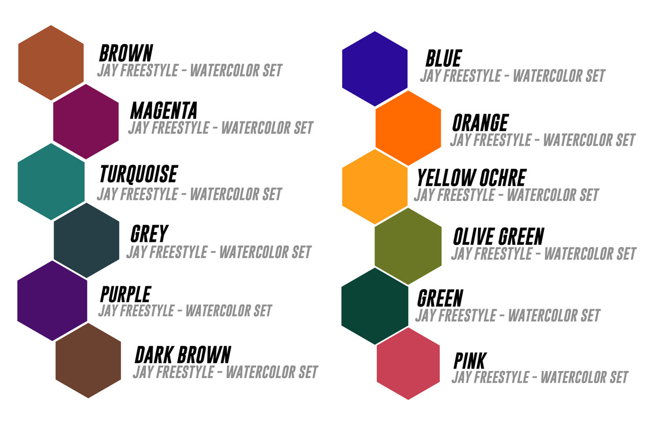 2a851d0610ea6 WORLD FAMOUS JAY FREESTYLE WATERCOLOR INK SET - Electrum Supply