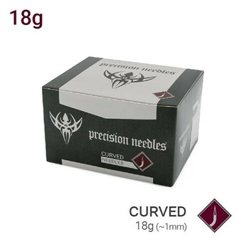 18g Curved Body Piercing Needles - Box of 50 Sterilized Precision Needles