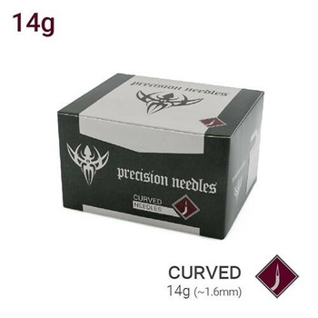 14g Curved Body Piercing Needles - Box of 50 Sterilized Precision Needles