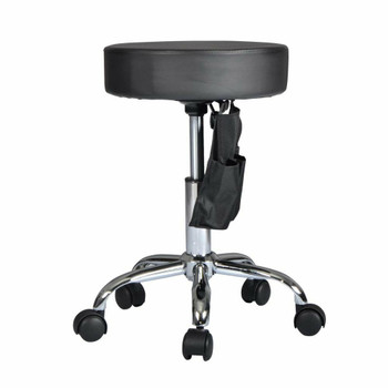 Black Adjustable Hydraulic Rolling Swivel Stool