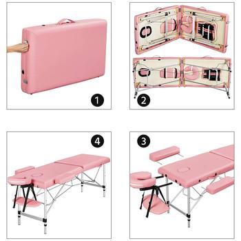 Portable Massage Table 84inch Massage Bed Aluminium Height Adjustable Facial Salon Tattoo Bed - Pink