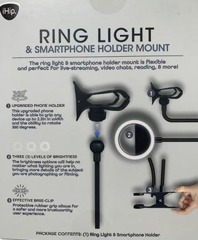 CLIP ON RING LIGHT & SMARTPHONE HOLDER MOUNT