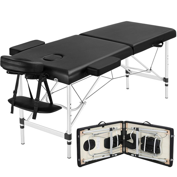 Portable Massage Table 84inch Massage Bed Aluminium Height Adjustable Facial Salon Tattoo Bed - Black