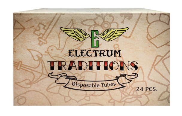 "Electrum Traditions Tube & Grip Sets - 1"" Premium Disposable Grips - Box of 24 - Tattoo Grips - Disposable Tattoo Tubes"