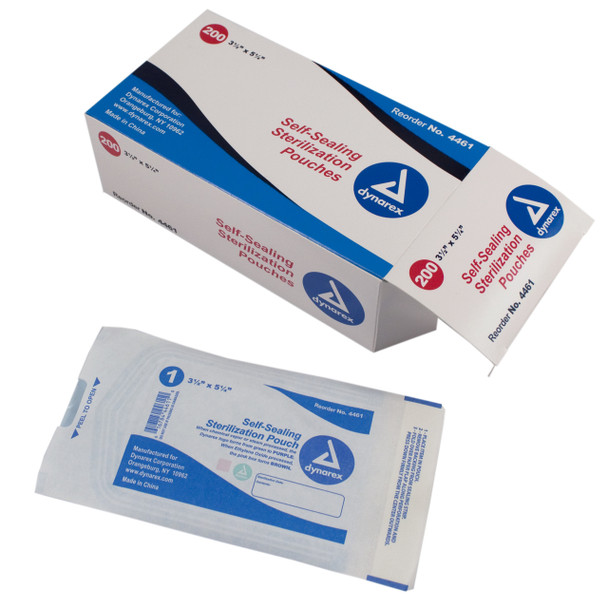 Self-Sealing Sterilization Pouches, 3 1/2 x 5 1/4, Box of 200