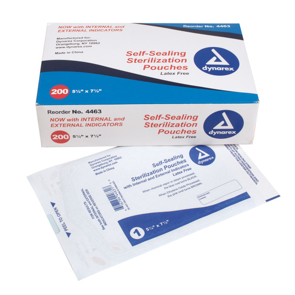 Self-Sealing Sterilization Pouches, 5 1/4 x 7 1/2, Box of 200