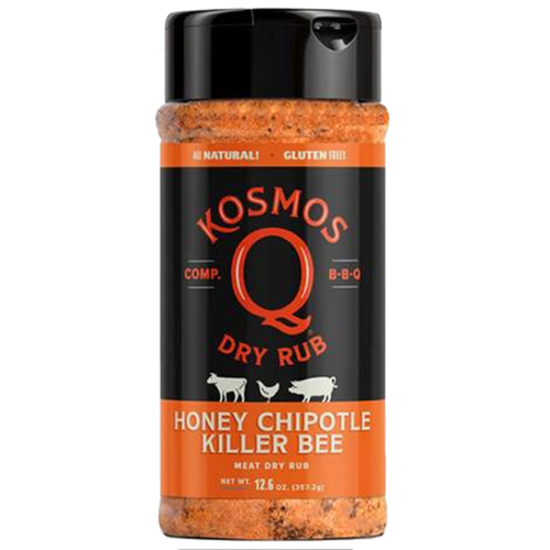 We took our sweetest honey rub and added fiery chipotle to make it a beautiful contradiction of sugar, spice and everything nice. If your taste buds can handle being deliciously confused, then it goes great on just about any meat you could possibly imagine! Kosmo's Spicy Killer Bee Rub promises that you'll be the talk of the 'Q no matter who's tasting.
