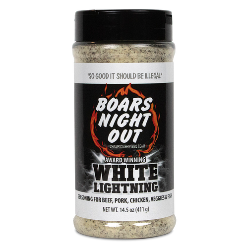Boars Night Out White Lightning offers a precise combination of spices and herbs that compliment anything it's used on. This all-purpose BBQ seasoning will boost the taste of beef, pork, chicken, fish, and veggies.