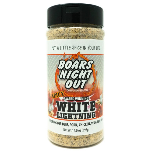 Boar's Night Out® Spicy White Lightning is a new take on the classic flavor of Boars Night Out White Lightning. This all purpose flavor enhancer from Boars Night out now brings some heat, to take your steak, ribs, chicken or fish beyond the normal flavor profile.