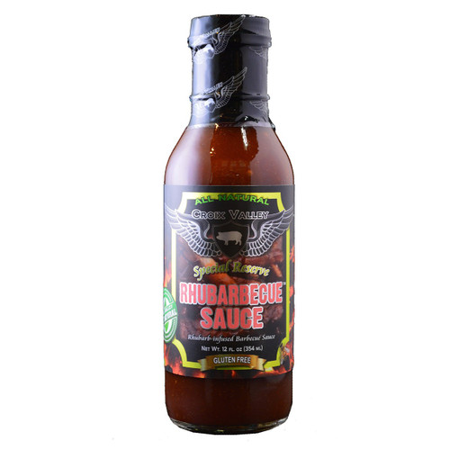 Croix Valley Rhubarbecue Sauce is Rhubarb BBQ sauce with a stunning combination of garden-fresh rhubarb and the sweet and smoky flavors of honey barbecue sauce. Perfect on pork, chicken, lamb, venison and more, this sauce creates a beautiful glaze while grilling and makes a fantastic condiment.
