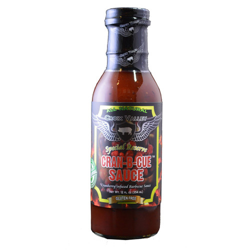 Croix Valley Cran-B-Cue Sauce combines fresh cranberries with the sweet and smoky flavors of this award-winning BBQ sauce. Excellent on turkey whether it be turkey burgers or a full roasted turkey, outstanding on wild game like pheasant, duck and goose, or used in appetizers or as a condiment.