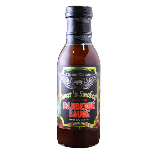 Croix Valley's Sweet n' Smokey Competition BBQ Sauce is the perfect blend of sweet and heat. This honey BBQ sauce creates a perfect glaze on your meats whether grilling or smoking and is sure to please the palettes of your family or guests. With an expertly crafted blend of spices and seasonings, Sweet n' Smokey pairs perfectly with grilling fare including ribs, burgers, chicken, pork, vegetables, brisket and seafood. You can use Sweet n' Smokey as a dipping sauce or finishing glaze and has applications in cooking only limited by your imagination.