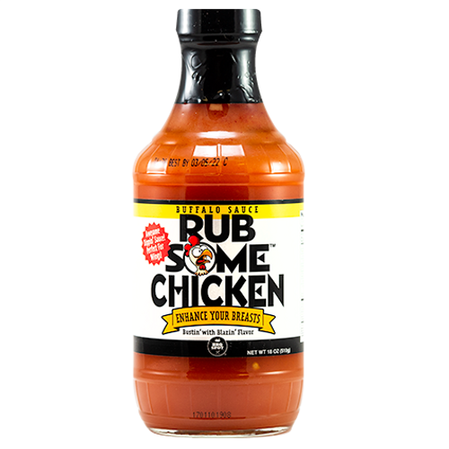 Rub Some Chicken Buffalo Sauce will make you the ultimate wingman! Made with cayenne peppers, garlic, with nice buttery notes and a medium heat finish. Whether you're smoking, grilling, or deep frying, Rub Some Chicken will have your tailgating friends clucking for more. Next time you're serving poultry,enhance those breasts with this buffalo sauce.
