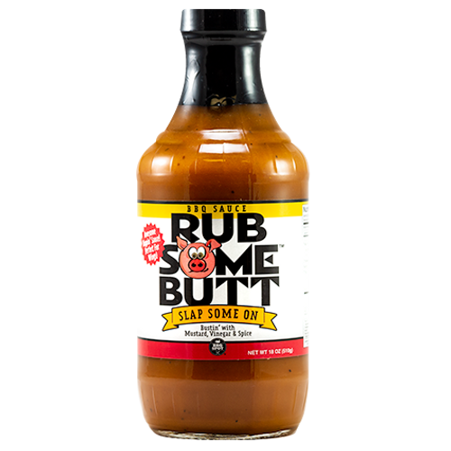 Rub Some Butt BBQ Sauce features a mustard base, complemented with apple cider vinegar, molasses and spices. This BBQ Sauce is a great start to your Carolina BBQ and makes amazing pulled pork, ribs & chicken marinade.