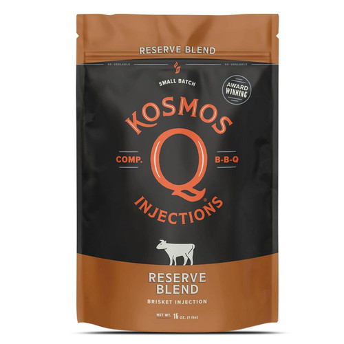 Inject your brisket with the most trusted injection on the market. Our Reserve Blend Brisket injection is more than and injection and marinade. With thousands of hours of testing and winning brisket competitions world wide kosmo's Q reserve blend injection not only win hearts and mouths, but money too. With a succulent synthesis of signature spices and moisture-retaining components, combined with slight smoky flavoring and dehydrated beef stock, you can count on producing a mouth watering tender brisket worthy of even the most seasoned (pun intended) BBQ pitmaster. To truly win a judge's affections, you need Kosmo's Q's meat Injection! So if you are looking for the best brisket injection on the market, you found it.