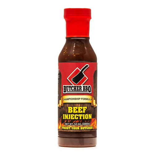 Our liquid Beef Injection has evolved from our Championship formula that went on to win several World Championships.Our ready to use product has all the rich flavors you have grown to love and trust from Butcher BBQ.We offer this product with zero MSG and zero Gluten.Of coarse it's an injection, but don't limit your usage to only that. It is a great marinade for steaks and even those mushrooms you love to grill.  Using our base flavors that are loved by competition cooks, we have developed a liquid product that is easy to use. Just open and inject. Its not concentrated, therefore no need to measure it out.