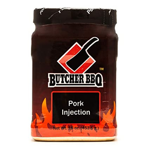 Our Butcher BBQ Pork Injection will give you that great deep pork flavor and still keep the moisture. Cooking with this has been proven a winner countless times. The Butcher BBQ Pork Injections are the only one on the market that come with an easy to seal canister. We have taken science and cooking, combined them and made this simple to use injection for any cook can use and make your best tasting pork ever. Mix one 3/4 cup of Pork Injection with two (2) cups of water. Other options are to split 1/2 the water with different fruit juices, cola or vegetable broth. Use the same system for injecting as directed in the beef injection. Be sure on thicker cuts of meat (as in pork shoulder and pork loins) to reach the center of the meat.  Ingredient list: This product consist of hydrolyzed vegetable protein (hydrolyzed soy and corn protein and salt, with partially hydrogenated vegetable oil [cottonseed, soybean] added), monosodium glutamate, sodium phosphate, pork flavor (yeast extract, natural flavors maltodextrin) and xanthin gum.  The same great items the World Champions use to impress the food judges, are all found here.  A 1 pound package will do up to 8 pork shoulders.