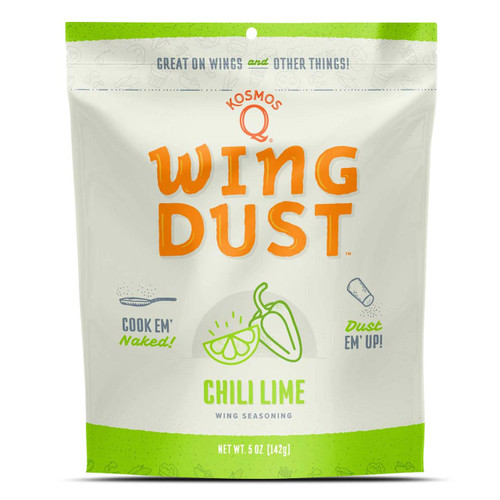 Introducing Kosmo's Q original Chili Lime Wing Dust, the perfect fiery addition to any homemade baked wings recipe! All you have to do is cook your wings, toss them in your favorite sauce, and then add the wing dust for an explosion of flavor that will change the way you see wings forever! Don't eat chicken wings very often? This unique blend of Kosmo spice, chili and lime will have your taste buds dancing a wonder tango in your mouth.