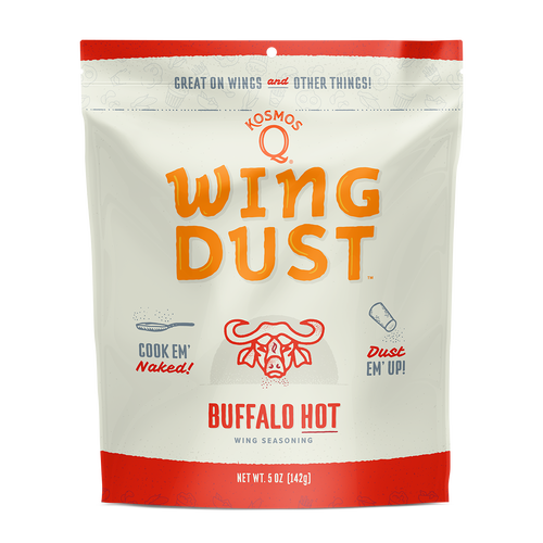 Introducing Kosmo's Q original Buffalo Hot Wing Dust, the perfect fiery addition to any homemade baked wings recipe! All you have to do is cook your wings, toss them in your favorite sauce, and then add the wing dust for an explosion of flavor that will change the way you see wings forever! Don't eat chicken wings very often? This unique blend of Kosmo spice, cayenne pepper, and blue cheese powder also goes great on popcorn, potatoes, and anything else that needs a little kick!
