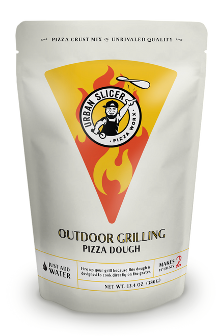 "Fire up your grill because this dough is designed to cook directly on the grates. Each package makes TWO 14"" Outdoor Grilling crusts."