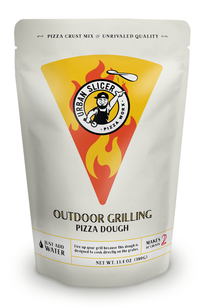 """Fire up your grill because this dough is designed to cook directly on the grates. Each package makes TWO 14"""" Outdoor Grilling crusts."""
