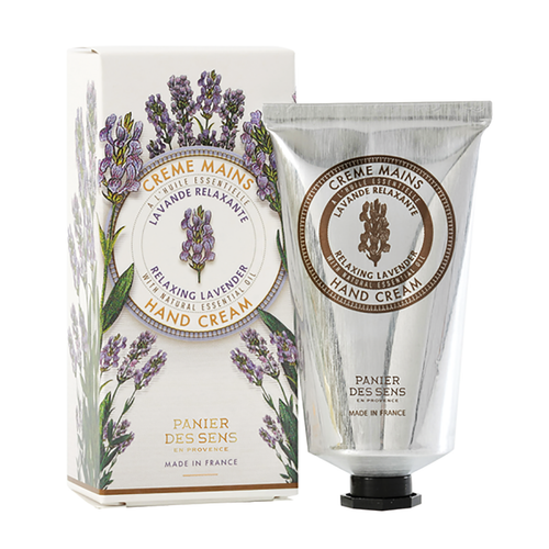 """Lavender Hand Cream 2.6 fl.oz  Created with nearly one quarter of pure Shea butter, olive oil and natural lavender essential oil, Panier des Sens hand cream is gently fragranced, specifically created to treat dry and tired hands. Rich in moisture, this hand cream is soft and penetrates easily.  Characteristics / Lavender hand cream by Panier des Sens is a calming cream created to nurture and comfort your skin which may be fragile or oversensitive. Easily penetrated into the skin, this cream allows for soft and resilient skin.No animal testing.  Free from / • Paraben • Phenoxyethanol • Silicones • Saraffin • Phthalates • Aluminum • Ethanolamine • Animal raw materials  Suggested application is from the fingertips to the wrists  Dimensions & More Info / • Product Size / W.2.25"""" – H.4.75"""" – D.1.5"""""""