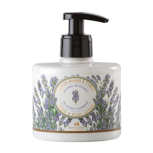 """Lavender Hand and Body Lotion 10.1 fl.oz  Lavender Body Care Collection by Panier des Sens promotes a variety of soaps and lotions that comfort your body with a combination of Shea Butter and lavender essential oil. Panier des Sens lotion for the hands is a wonderfully relaxing treat for your mind as well as your hands.  Characteristics / A calming cream for your hands, Panier des Sens lavender hand lotion will provide your skin and mind with the relaxation it deserves. Generous in Shea butter and grape seed oil, this lotion is gentle enough to use everyday.  Free from / • Paraben • Phenoxyethanol • Silicones • Paraffin • Phthalates • Aluminum • Ethanolamine • Animal raw materials.  For the best application, apply cream from fingertips to wrists Easily dispense this product with our pump top bottle.  Dimensions & More Info / • Product Size / W.3.25"""" – H.4.50"""" – D.3.25"""""""