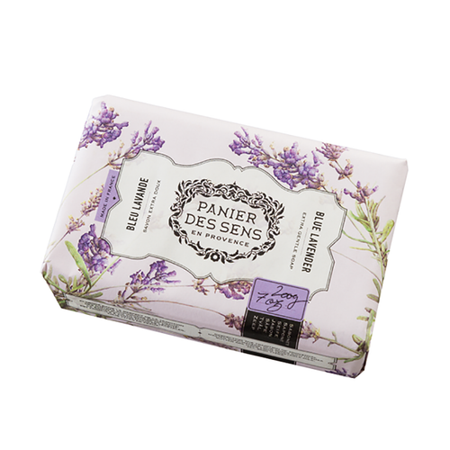 Blue Lavender Shea Butter Soap 7 oz  Description / Acceptable for everyday use, this extremely gentle soap is rich in Shea butter, giving it calming and nurturing benefits.  This soap has a foamy lather and gently cleanses the face and body.  This soap is so gentle, it helps to maintain your skins natural balance.  The symbolic Provence plant is one of lavender fflowers with blue-violet color.  It has a distinct fragrance; one that is slightly camphor and strong.  Characteristics / •Enriched with Shea Butter •100% Vegetable Oil •Lavender essential oils for fragrance