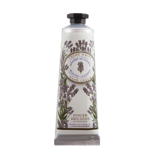 """Lavender Hand Cream 1.01 fl.oz  Created with nearly one quarter of pure Shea butter, olive oil and natural lavender essential oil, Panier des Sens hand cream is gently fragranced, specifically created to treat dry and tired hands. Rich in moisture, this hand cream is soft and penetrates easily.  Characteristics / Lavender hand cream by Panier des Sens is a calming cream created to nurture and comfort your skin which may be fragile or oversensitive. Easily penetrated into the skin, this cream allows for soft and resilient skin.No animal testing.  Free from / • Paraben • Phenoxyethanol • Silicones • Saraffin • Phthalates • Aluminum • Ethanolamine • Animal raw materials  Suggested application is from the fingertips to the wrists  Dimensions & More Info / • Product Size / W.1.25"""" – H.4.25"""" – D.1"""""""