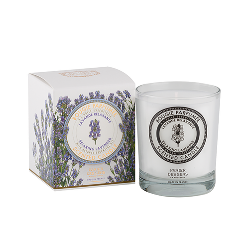 """Lavender Scented Candle 6 oz  True to perfume concentrate, this fragrant lavender scented candle is delightful! Every candle is created with a distinct combination of hard mineral waxes enhanced with vegetable waxes, both with an origin that is controlled, all providing the highest quality. Lavender, the soul of Haute Provence is a relaxing scent that aids in releasing stress.  Characteristics / • Enriched with Shea Butter • 100% Vegetable Oil • Lavender essential oils for fragrance  Dimensions & More Info / • Product Size / W.2.5"""" – H.4"""" – D.1.25""""  Burning time / Approx 45 hours Rooms / Bathroom, Bedroom, Corridor, Entrance, Lounge Season / Spring - Summer Atmosphere / Bewitching - Relaxing  Remove the cover, light the wick, place the candle in a safe place (do not leave unattended) and let the delicate fragrances waft through your home."""