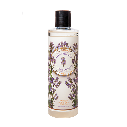 """Lavender Shower Gel 8.4 fl.oz  The Essentials Collection, by Panier des Sens, features their delicately perfumed cleansing gel. This gel, rich in relaxing and antiseptic lavender essential oil, is a soft body cleanser ideal for the shower. It produces a rich lather and creates a natural balance for the skin. This shower gel allows for the utmost comfortability and gentleness daily, which is perfect for those with sensitive skin.  Characteristics / • 100% Biodegradable • 100% Natural Essential and Vegetable oils • No artificial fragrance • No animal product • No synthetic surfactants • Safety plastic pump bottle  Dimensions & More Info / • Product Size / W.2"""" – H.6.75"""" – D.2"""""""