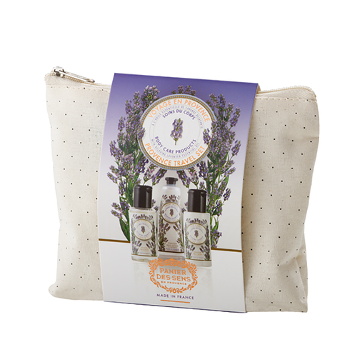 """Relaxing Lavender Pouch Set  An aromatic tribute to Provence, lavender is widely known as """"blue gold"""". Known as the fragrant soul of Provence, lavender is indeed, the fruit of humble labor. It grows on dry rocky terrain, several miles long. Fragile and bothered skin benefit highly from lavender essential oil. Its efficacy, as a serene and well-being fragrance, is in returning the body and mind into balance and peacefulness. Whether you suffer from headache, insomnia, or overall stress, lavender will assist in reducing these ailments.  Characteristics / This travel set is perfect for a weekend of relaxation. Three calming care products abundant in Shea Butter and healing Laender essential oil, are packaged in a small pouch made from 100% cotton..  • Shower gel 50ml (1.7 fl.oz.) • Hand cream 30ml (1 fl.oz.) • Body lotion 50ml (1.7 fl.oz.)  Free from / • Paraben • Phenoxyethanol • Silicone • Aluminum • Ethanolamine  Dimensions & More Info / • Product Size / W.6"""" – H.5"""" – D.1"""""""