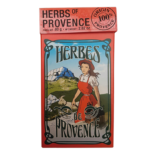 """Provence Herbs in Gift Box – 2.8 oz  Herbs de Provence by l'Ami Provencal is known for their finest Provencal herbs. This unique blend is home to the southern coastal region of France, known as Provence. The magnificence of the Mediterranean sunshine and fertile landscaping provides the most optimal growing environment for the herbs Marjoram, Rosemary, Bay leaves, Thyme, and Summer Savory that create this aromatic bouquet of wellness for the mind and body. Each Gift Box contains 2.8 ounces of Provence herbs by l'Ami Provencal from France.  Dimensions & More Info / • Net Weight / 2.8 oz – 80 g • Made In / FRANCE """"Provence""""  Ingredients or Nutrition Facts / • Rosemary • Oregano • Savory • Thyme"""