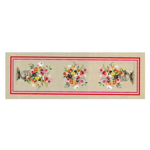 """Live Life Provence features the collection """"Agathe."""" This chic pattern boasts an array of gorgeous flowers bursting with a variety of brilliant colors. Made from 100% cotton Serge, this Table Runner can be used as part of your everyday décor or for special occasions to add an extra touch of brightness to your room. This floral design pattern will add a touch of Spring time any time of the year and will keep your room bursting with brightness.  Dimensions & More Info / • Product Size / W.20"""" - D.59"""" • Fabric / 100% Cotton Serge with digital printed fabric • Net Weight / 180 gr / m2 • Made In / FRANCE """"Provence""""  - A new process of textile printing offers the possibility of printing an unlimited number of different colors, which allows for a photographic realism on the linens.  Use & Care / • Machine Wash cold with a gentle spin. • Dryer is highly inadvisable. • Gentle detergent can be used. • Ironing on the back side ONLY, is necessary after each wash to reactivate the proprieties of the water repellent treatment."""