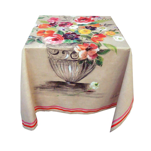 """Live Life Provence features the collection """"Agathe."""" This chic pattern boasts an array of gorgeous flowers bursting with a variety of brilliant colors. Made from 100% cotton Serge, this Tablecloth can be used as part of your everyday décor or for special occasions to add an extra touch of brightness to your room. This floral design pattern will add a touch of Spring/Summer time any time of the year and will keep your room bursting with brightness  Dimensions & More Info / • Product Size / 40"""" x 40""""   –   63"""" x 63""""   -   63"""" x 98.5"""" • Fabric / 100% Cotton Serge with digital printed fabric • Net Weight / 180 gr/m2 • Made In / FRANCE """"Provence""""  - A new process of textile printing offers the possibility of printing an unlimited number of different colors, which allows for a photographic realism on the linens.  Use & Care / • Machine Wash cold with a gentle spin. • Dryer is highly inadvisable. • Gentle detergent can be used. • Ironing on the back side ONLY, is necessary after each wash to reactivate the proprieties of the water repellent treatment."""