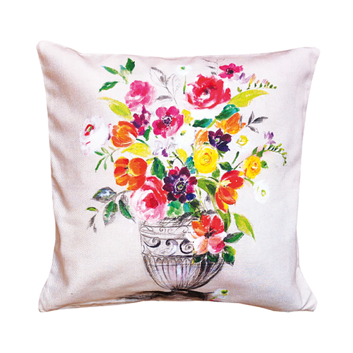 """Live Life Provence features the collection """"Agathe."""" This chic pattern boasts an array of gorgeous flowers bursting with a variety of brilliant colors. Made from 100% cotton Serge, this pillow case cover can be used as part of your everyday décor or for special occasions to add an extra touch of brightness to your room. This floral design pattern will add a touch of Spring/Summer time any time of the year and will keep your room bursting with brightness  Dimensions & More Info / • Product Size / 16"""" x 16"""" • Fabric / 100% Cotton Serge with digital printed fabric • Net Weight / 180 gr/m2 • Made In / FRANCE """"Provence""""  - A new process of textile printing offers the possibility of printing an unlimited number of different colors, which allows for a photographic realism on the linens.  Use & Care / • Machine Wash cold with a gentle spin. • Dryer is highly inadvisable. • Gentle detergent can be used. • Ironing on the back side ONLY, is necessary after each wash to reactivate the proprieties of the water repellent treatment."""