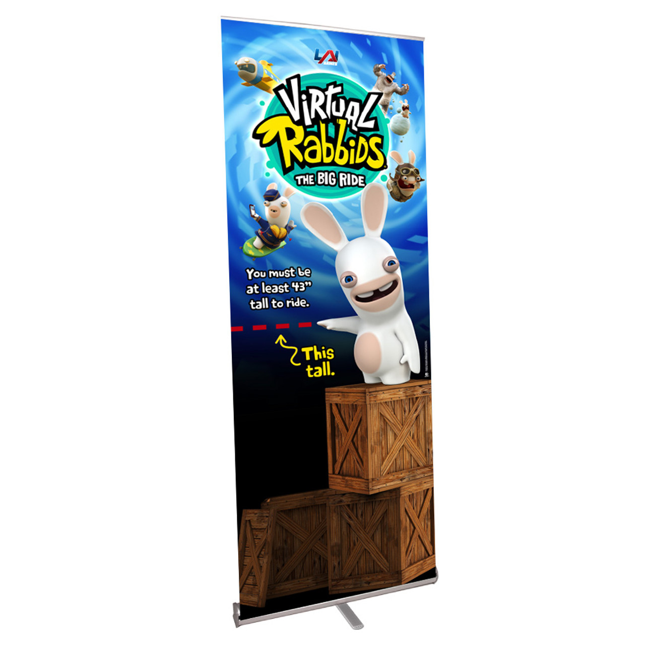 Pull Up Banner for Virtual Rabbids with Height Requirements