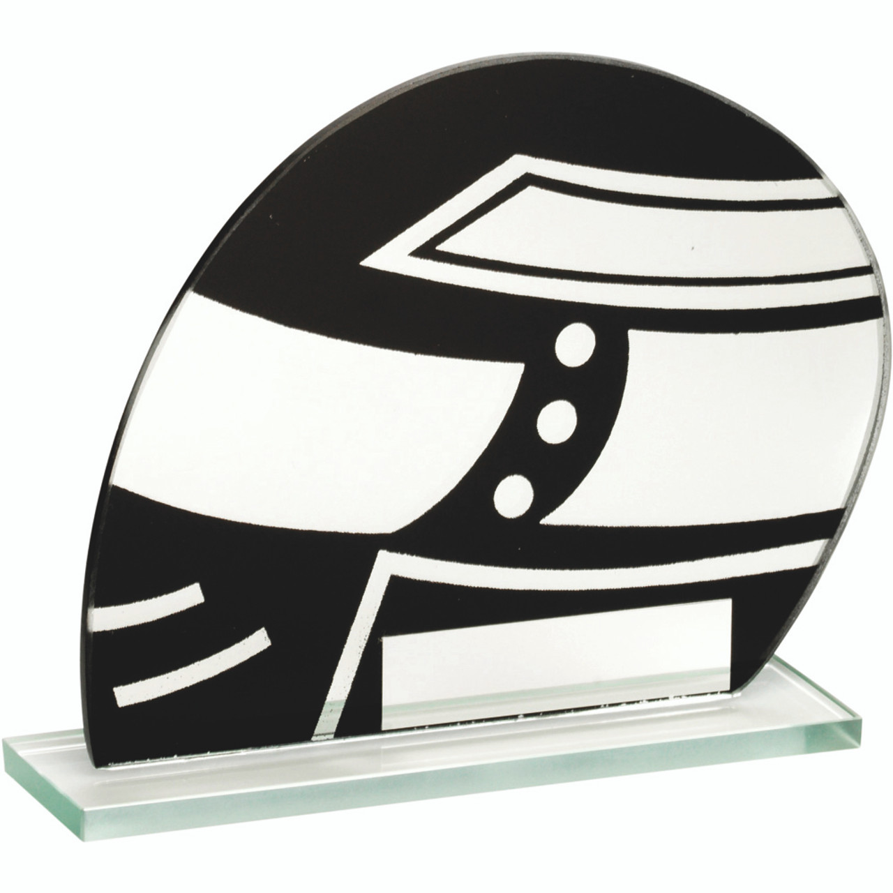 Black and silver glass motorsport award available in 3 sizes and with FREE personalised engraving.