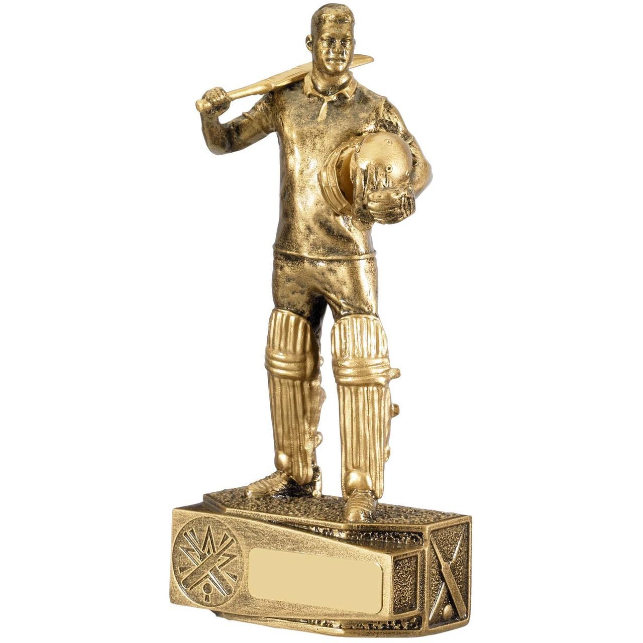 Cricket Batsman sportsman in a beautiful antique gold finish 1stPlace4Trophies