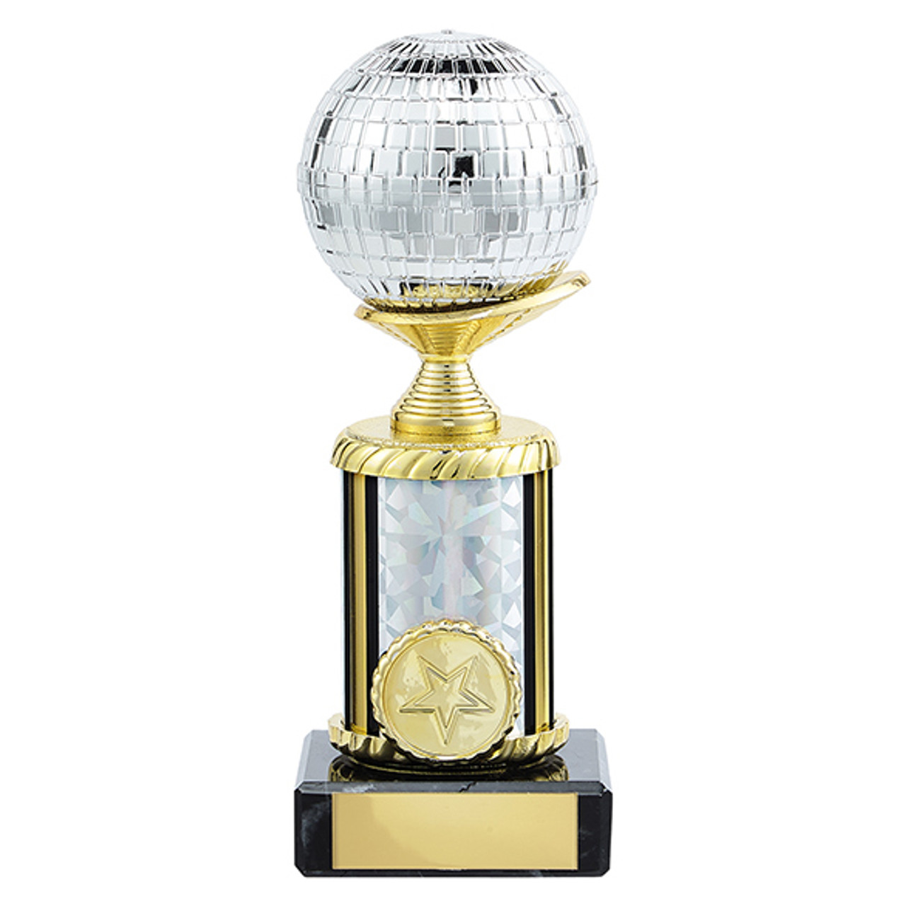 Stunning glitterball dance trophy available in 6 super sizes at 1st Place 4 Trophies