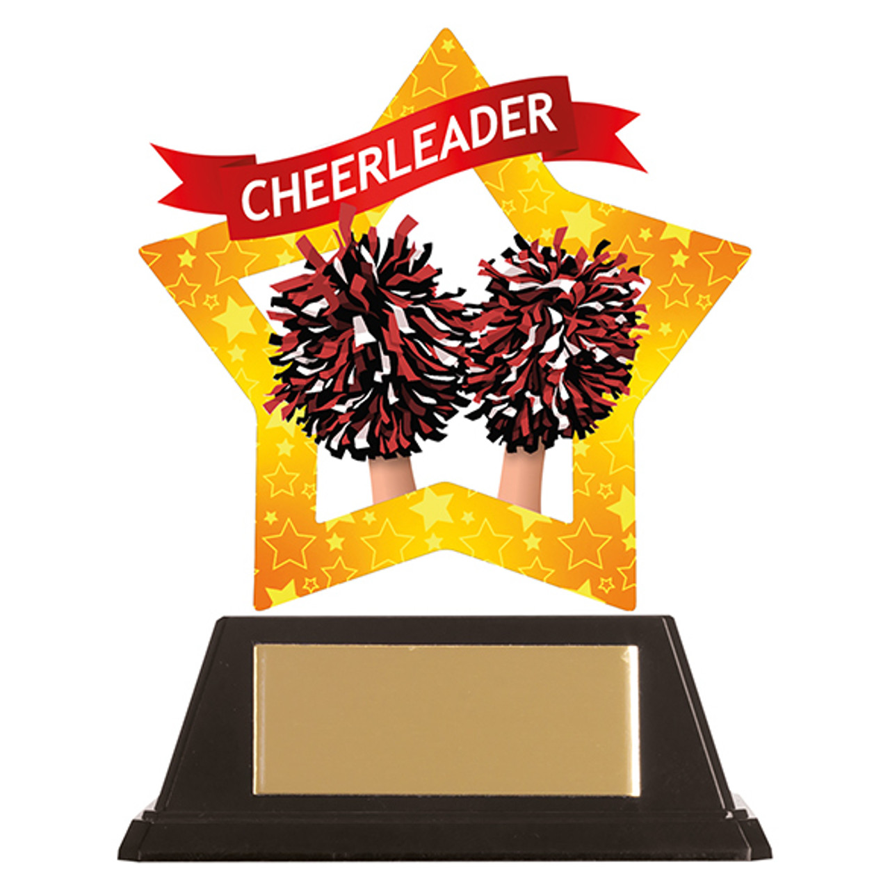 Cheerleader acrylic mini-star award at 1st Place 4 Trophies