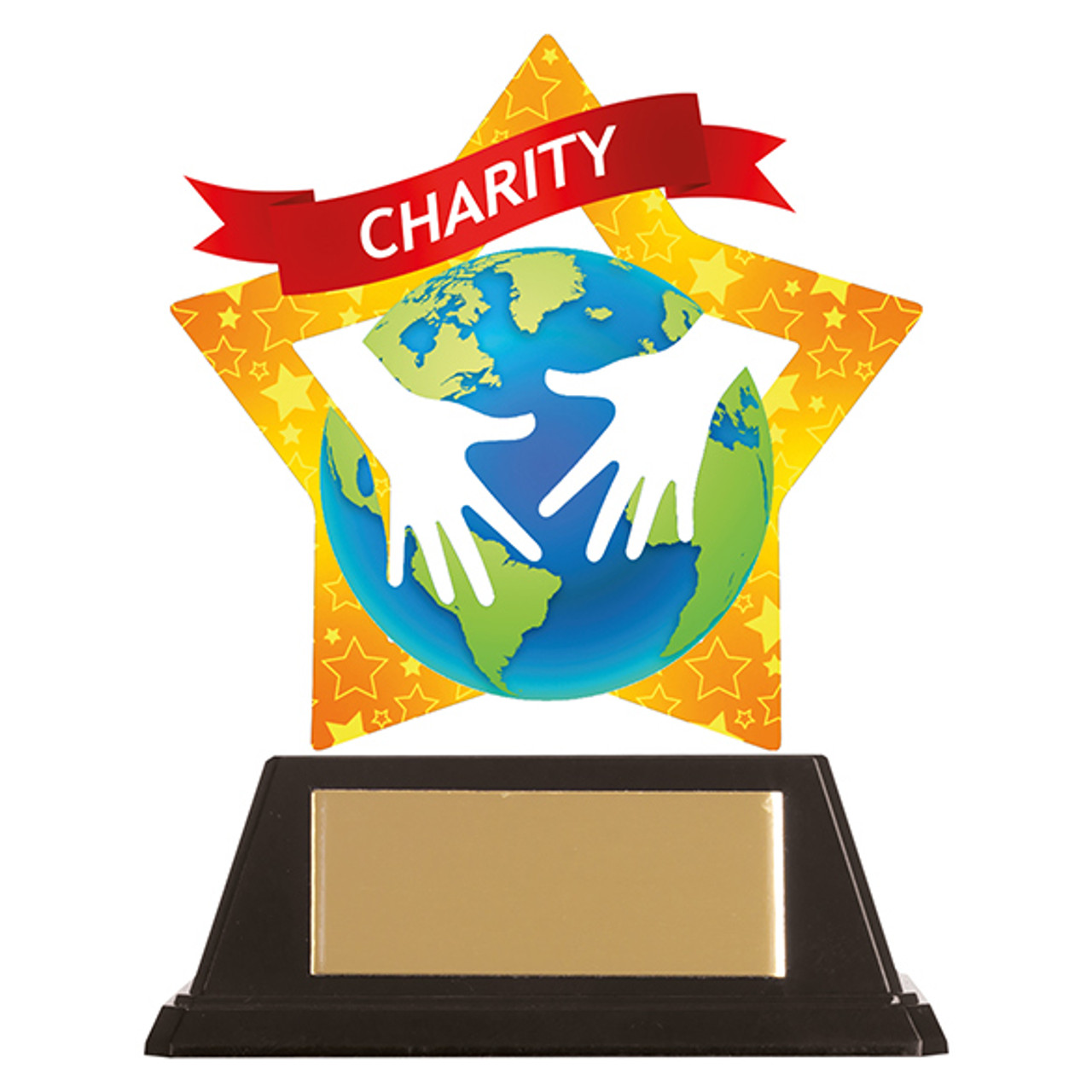 Charity acrylic mini-star award at 1st Place 4 Trophies with FREE engraving