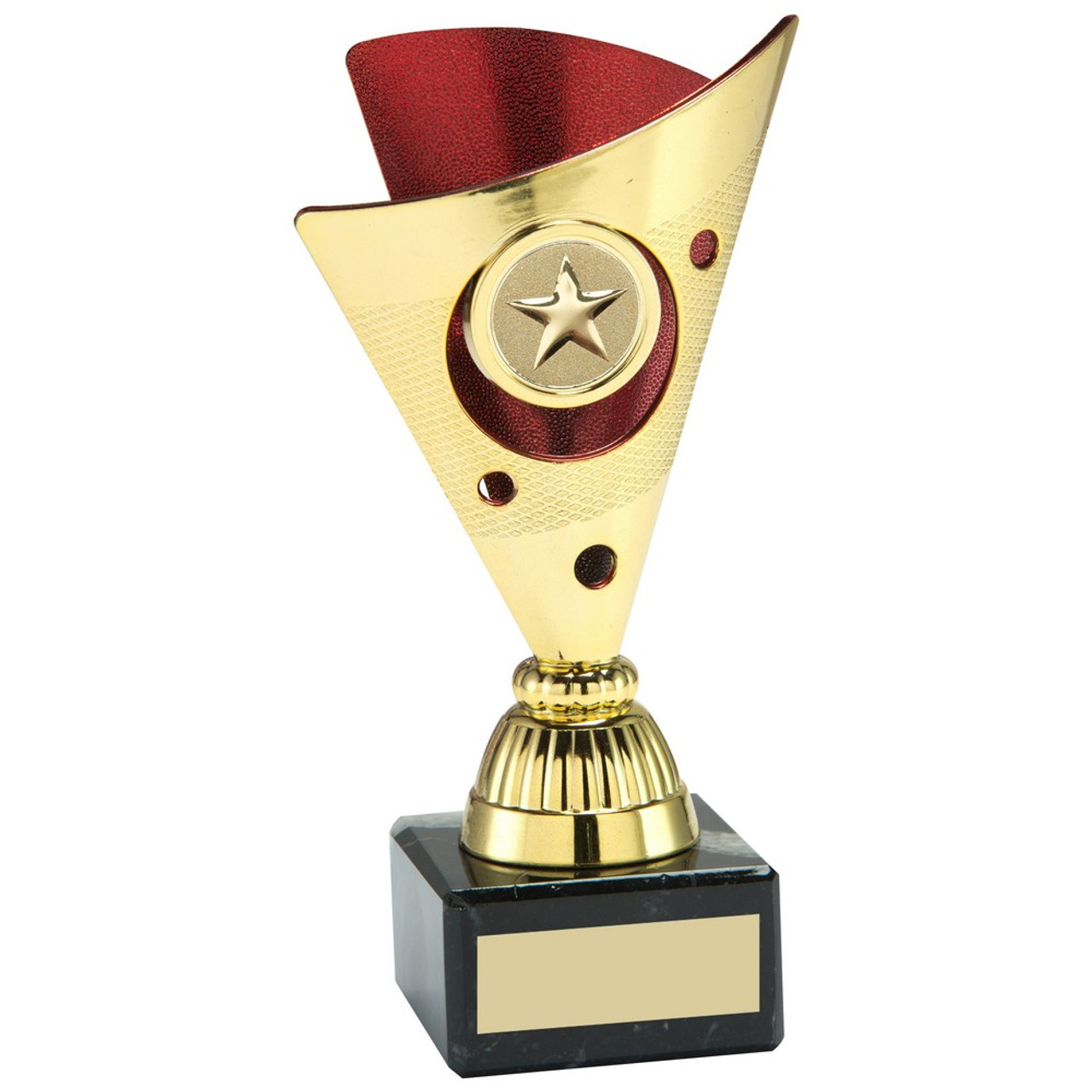 Gold & Red plastic trophy cup with FREE engraving