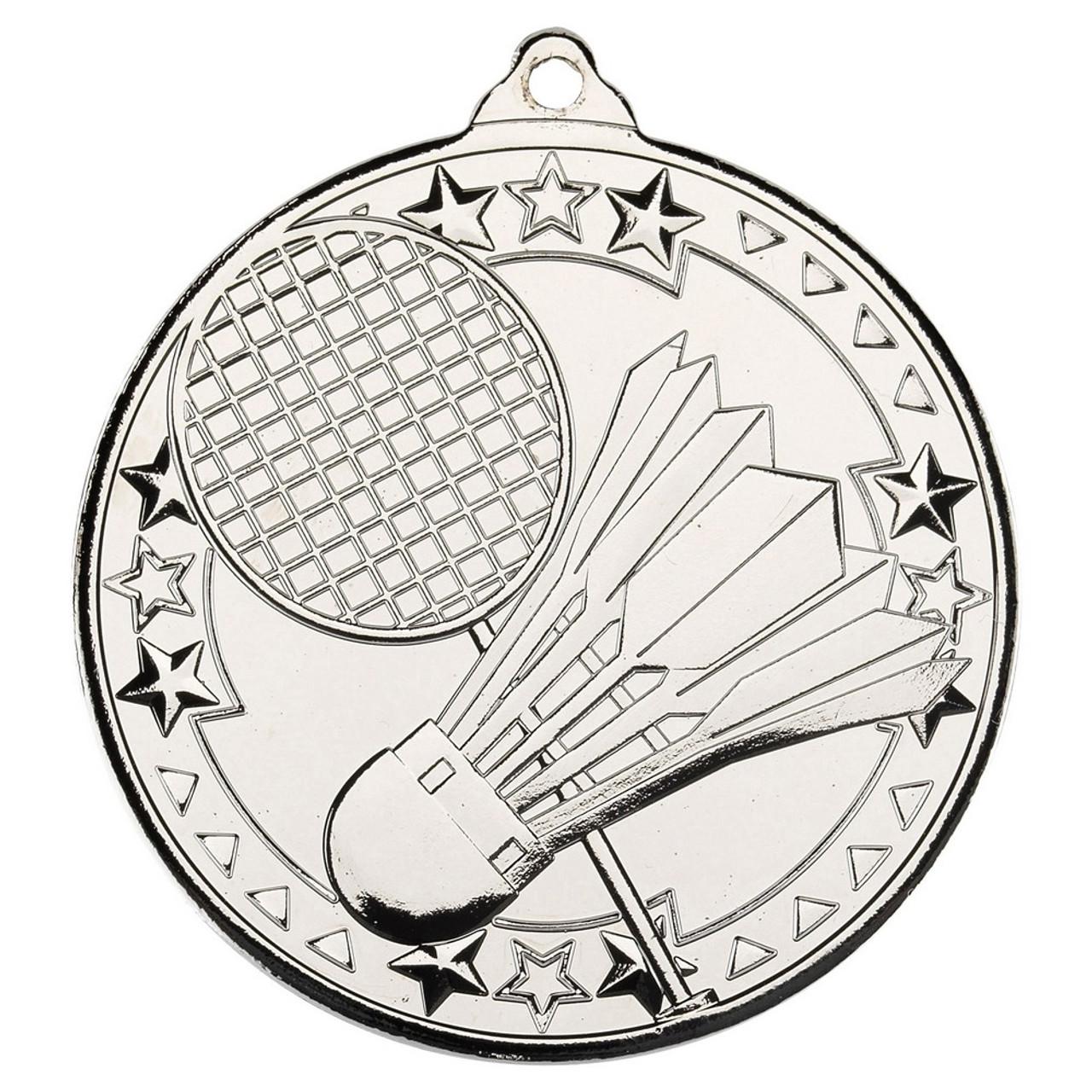 50mm Silver Badminton Medal Award